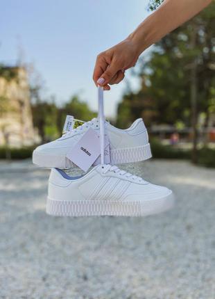 Женские белые кроссовки adidas samba white / жіночі білі кросівки
