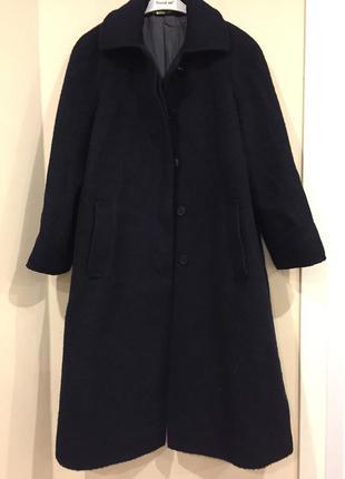 Шикарное шерстяное темно-синее пальто