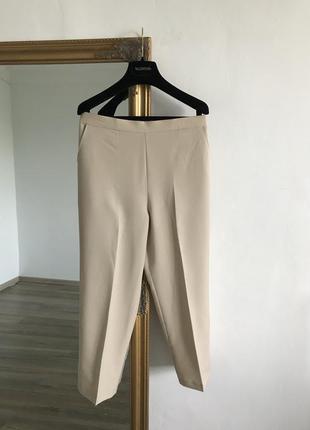 Светлые бежевые молочные брюки на резинке летние легкие u16