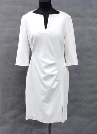Креповое кремовое вискозное платье размер uk 14