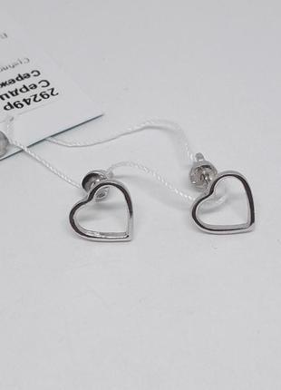 Серебряные пусеты сердечки