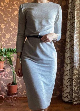 Платье-футляр, платье миди с блестками