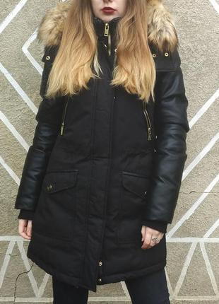Американский пуховик- куртка- парка  черный зима storm mountain , s-m