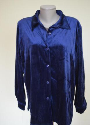 Красивая качественная велюровая блузочка-рубашка