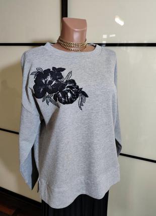 Marks & spencer  стильный свитшот с вышивкой uk 16 eur 44