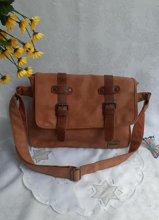 Zebella сумка мессенджер почтальонка на ремне портфель нубук крейзи хорс для бумаг ноутбука