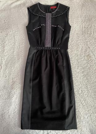 Черное платье миди hugo boss р. s  оригинал