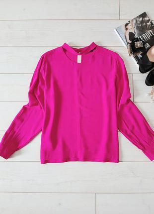 Шикарная блуза фуксия с чокером_вискоза