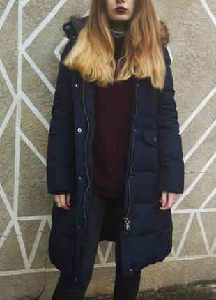 Американский пуховик куртка , парка, длинная , зима, s синий, синня