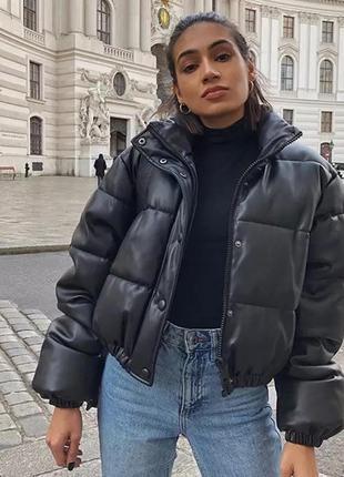 Женская дутая куртка zara коротка кожаная косуха куртка зима