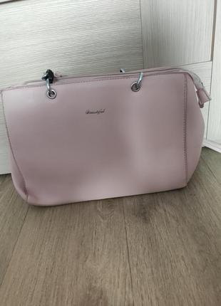 Пудра розовая большая сумка сумочка прогулочная много отделений