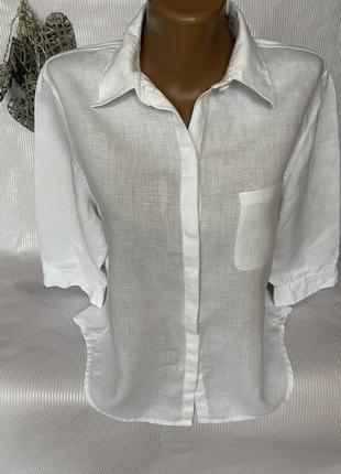 Стильная белая рубашка 100% лен