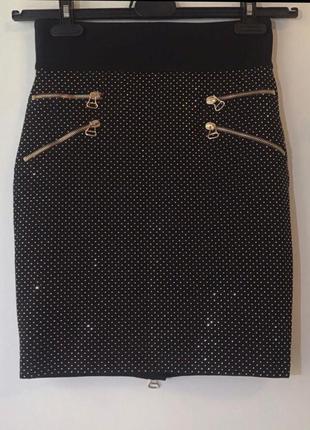 Юбка брендовая, оригинал  balmain с завышенной талией s-m.