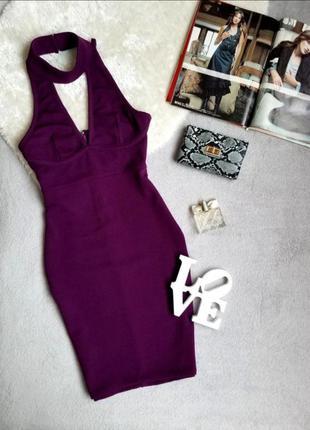 Платье фиолетовое платье с чокером миди ax paris сукня міді з чокером плаття