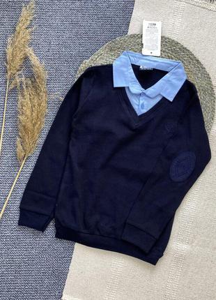 Поло обманка свитер джемпер кофта школьная синяя свитер шкільний синій