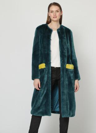 Новое меховое пальто trussardi шуба color block teddy тедди чебурашка