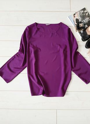 Лаконичная блуза прямого силуэта_цвет маджента