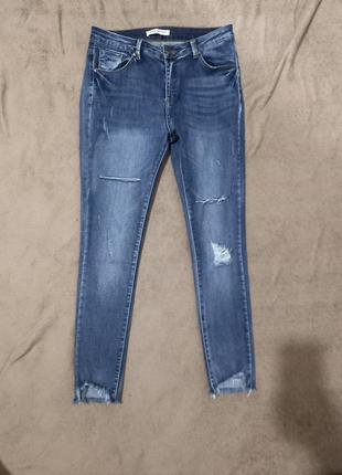 Крутые женские рваные джинсы суперстрейч на высокой посадке