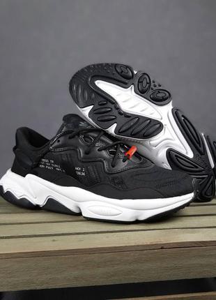 Шкіряні жночі кросівки adidas ozweego. рефлективні вставки. щільний текстиль.