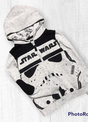 Star-wars кофта с начесом толстовка худи на байке 7-8 лет
