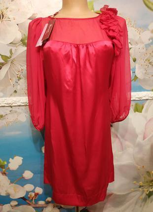 Платье шелковое яркое 100% silk новое s