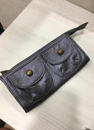 Кожаный лиловый серебристый кошелёк