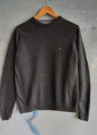 Темно серый шерстяной свитер оверсайз с логотипом на груди винтаж tommy hilfiger