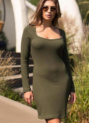Базовое трикотажное платье цвет хаки качество