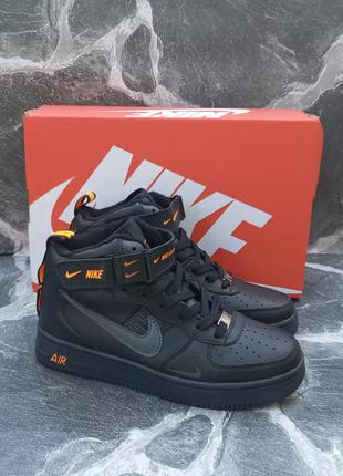 Подростковые термо кроссовки nike air force кожаные, высокие