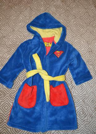 Флисовый халат мальчику m&s superman на 3 года рост 98 см  в идеа