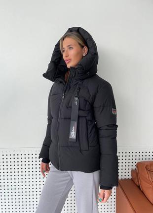 Зимний пуховик средней длинны на био пуху черного цвета с капюшоном