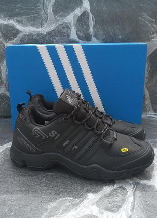 Мужчкие кроссовки adidas swift кожаные, черные, нубук