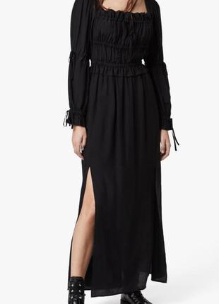 Шикарное чёрное длинное платье 30% шёлк / чорна вишукана сукня.