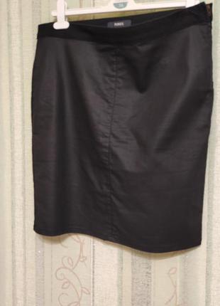 Джинсовая черная юбка-карандаш прямая р.50/uk14