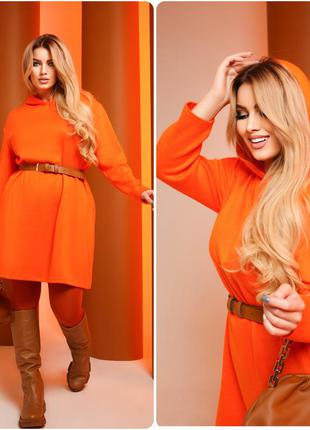 Платье из ангоры оранжевое