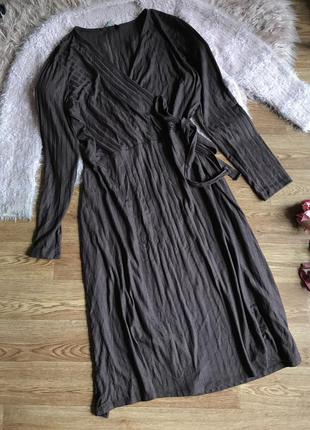 Коричневое платье-миди(20р)4xl