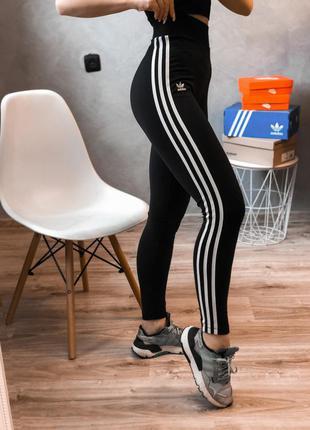 Adidas оригинальные лосины леггинсы от адидас с лампасами на высокой посадке