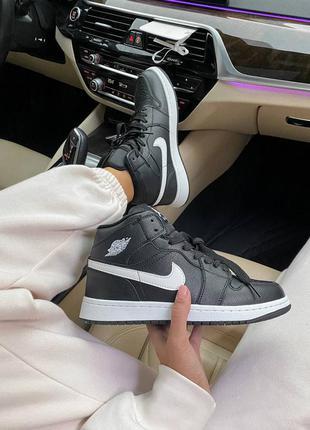 Кроссовки с мехом зима nike jordan 1 high black кросівки