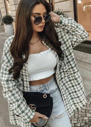Крутая твидовая куртка рубашка zara