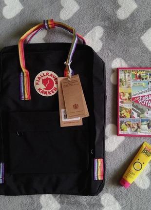 Рюкзак канкен черный с радужными ручками, fjallraven kanken black rainbow, радужные, цветные, радуга, школьный, шкільний портфель, черний