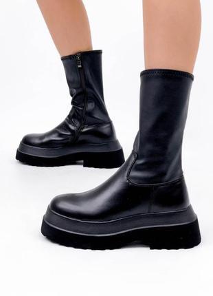 Кожаные ботинки чулки на платформе