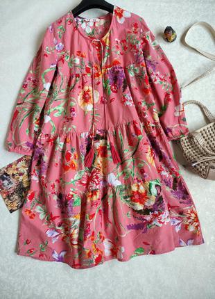 Хлопковое ярусное платье в цветы / ярусна сукня в квіти