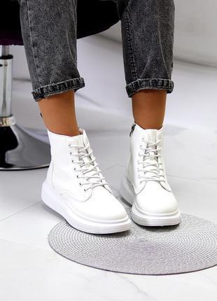Женские белые демисезонные спортивные ботиночки на флисе
