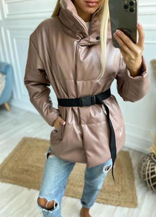 Женская куртка эко кожа с поясом