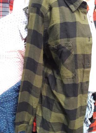 Женская рубашка клетка цвет хаки