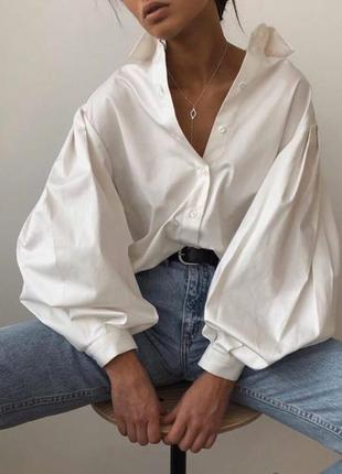 Рубашка с пышными рукавами , белая рубашка