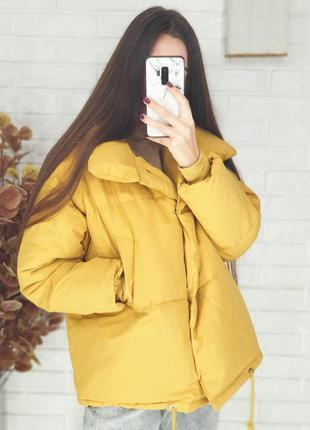Женская желтая оверсайз куртка осенняя / жіноча жовта осіння куртка