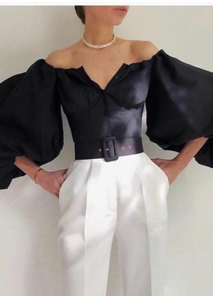 Рубашка с пышными рукавами , черная рубашка , рубашка с буфами