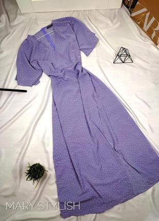 Нежное платье в горошек на запах