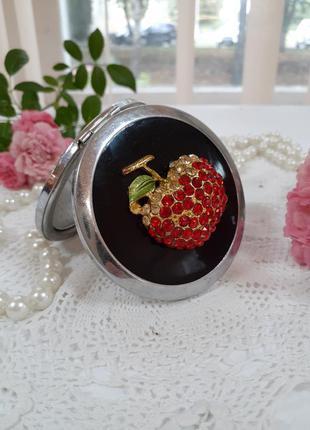 🍎 зеркало 👑 компактное увеличивающее двустороннее металлическое карманное яблоко